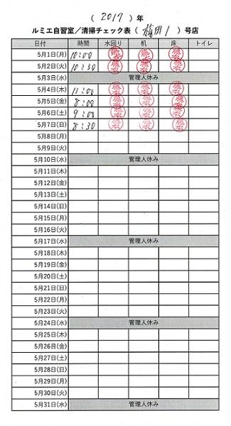 ルミエ自習室では清掃チェック表を配置し、毎日清掃日時を記載